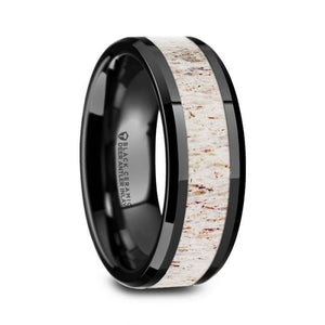 Real Deer Antler Inlay Black Ceramic Wedding Band, Beveled