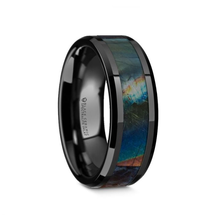 Iridescent Dinosaur Fossil Spectrolite Black Ceramic Ring, Beveled