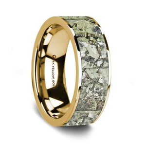 Light Green Real Fossilized Dino Bone Wedding Ring, 14K Yellow Gold