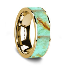 Load image into Gallery viewer, Precious Turquoise Stone Inlay 14K Yellow Gold Wedding Ring