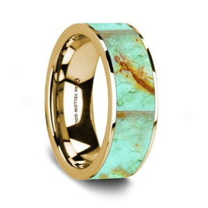 Precious Turquoise Stone Inlay 14K Yellow Gold Wedding Ring
