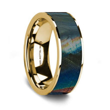 Load image into Gallery viewer, Iridescent Dinosaur Fossil Spectrolite 14K Yellow Gold Ring, Flat