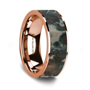 Real Coprolite Dinosaur Fossil Inlay 14K Rose Gold Wedding Ring