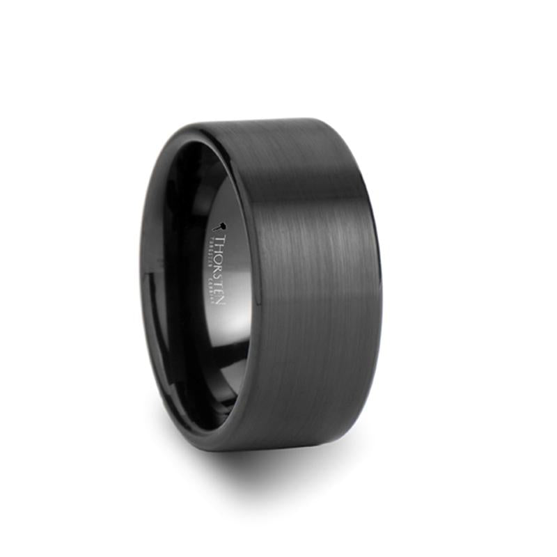 Flat Cut Matte Black Tungsten Carbide Ring