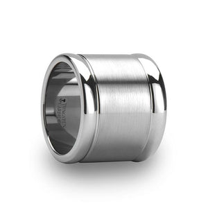 Ultra Wide Tungsten Ring with Raised Polished Edges