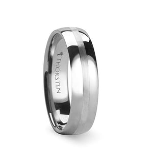 Polished Tungsten Wedding Band with Satin Stripe
