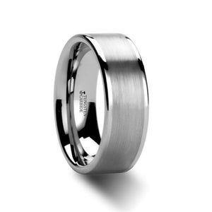 Flat Brushed White Tungsten Ring with Polished Edges
