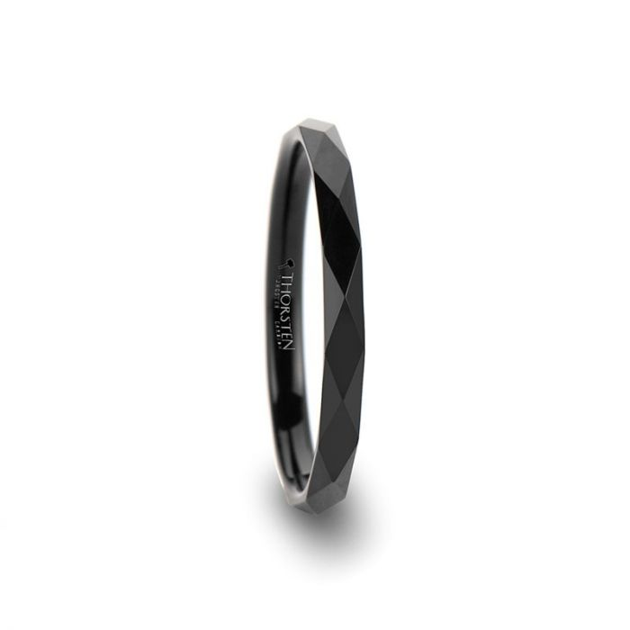 Black Tungsten Women's Wedding Band with Diamond Facets