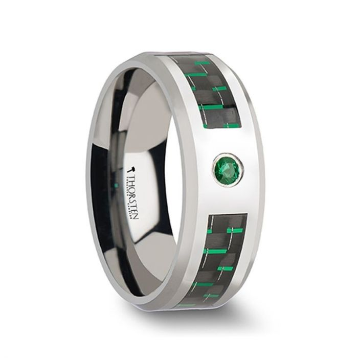 Green Carbon Fiber Tungsten Ring with Emerald Gem