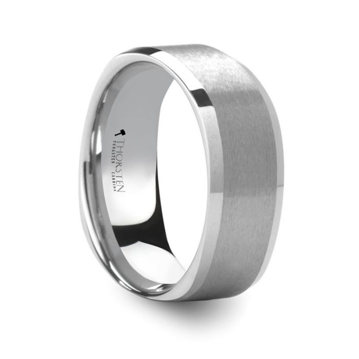 Brushed Tungsten Square Ring with Polished Edge