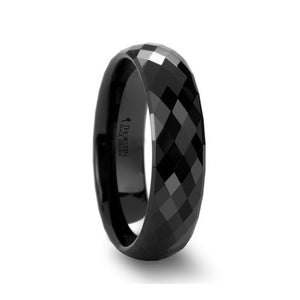 Diamond Facet Black Ceramic Rounded Wedding Band