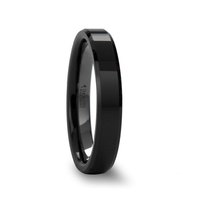 Bevel Edge Polished Black Ceramic Wedding Band
