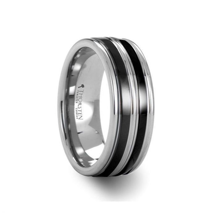 Grooved Tungsten Ring wth Dual Black Ceramic Inlays