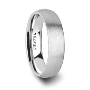 Satin Finish Domed White Tungsten Ring