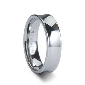 Polished Concave Tungsten Carbide Ring