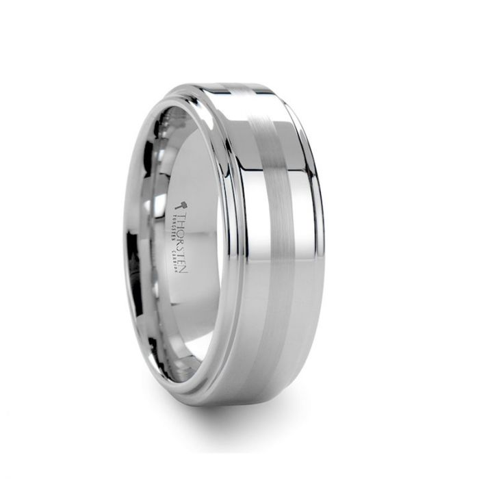 Brushed Stripe on Polished Raised Center White Tungsten Ring