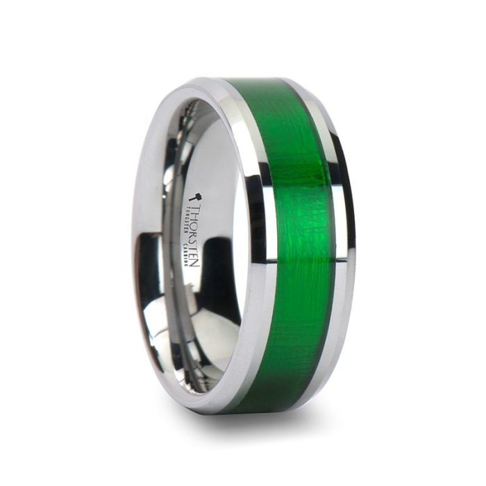 Beveled Edge Tungsten Carbide Ring with Green Inlay