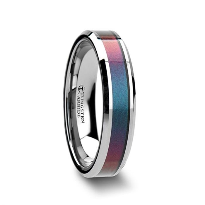 Blue Purple Color Changing Inlay Tungsten Band