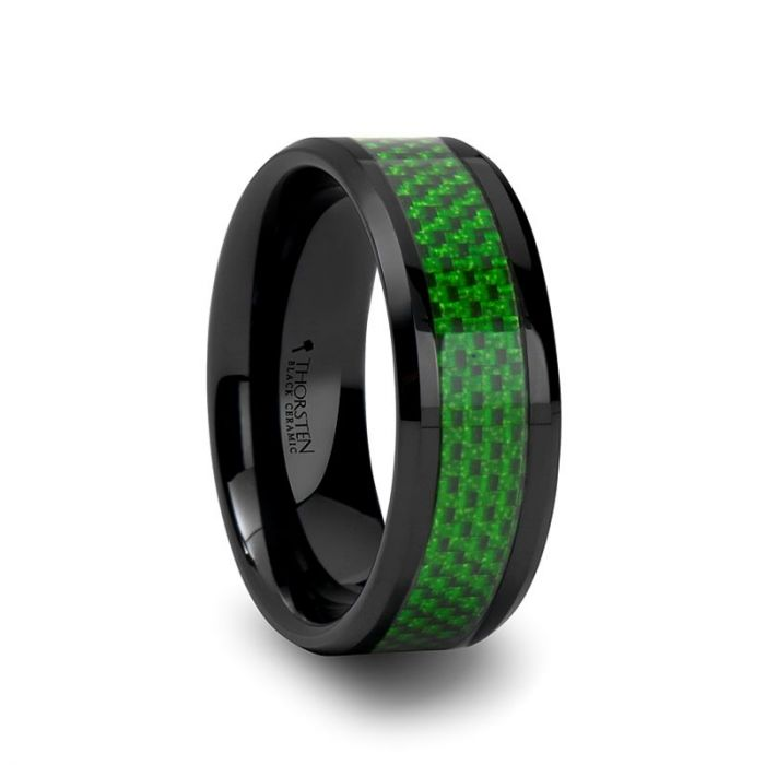 Black Ceramic Beveled Ring with Green Carbon Fiber Inlay