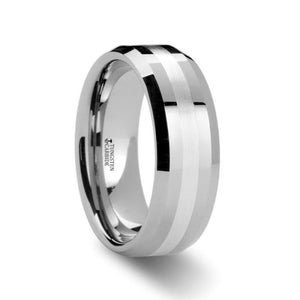 Silver Stripe Inlaid Tungsten Carbide Ring with Bevel Edge