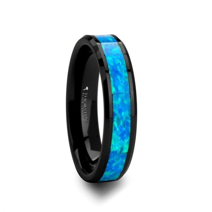 Black Ceramic Ring with Blue-Green Opal Inlay