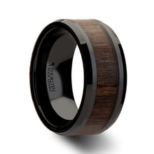 Load image into Gallery viewer, Beveled Black Ceramic Ring with Walnut Wood Inlay