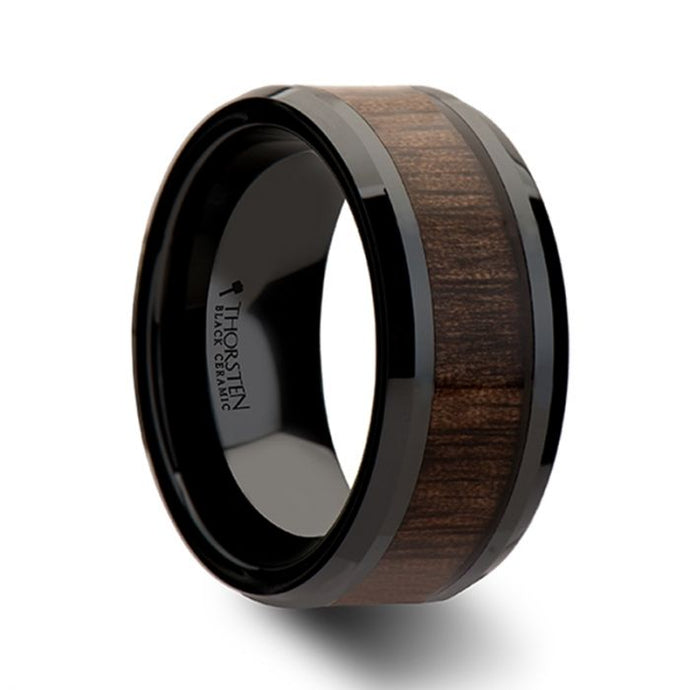 Beveled Black Ceramic Ring with Walnut Wood Inlay