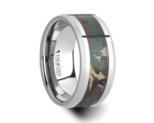 Mens Tungsten Military Camouflage Wedding Ring