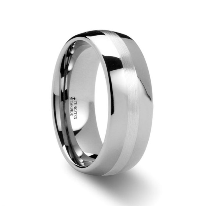 Domed Silver Stripe Inlay Tungsten Carbide Ring