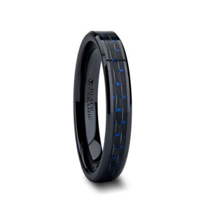 Black Ceramic Tungsten Band with Blue Carbon Fiber