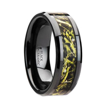Load image into Gallery viewer, Green Hunter Camo Inlay Black Ceramic Ring