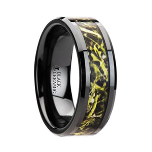 Green Hunter Camo Inlay Black Ceramic Ring