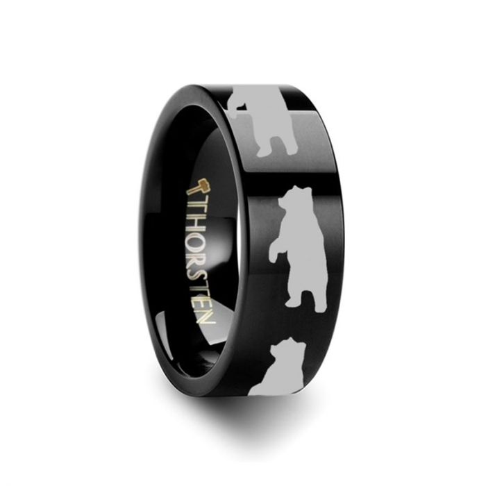 Standing Bear Design Engraving Black Tungsten Ring