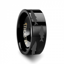 Load image into Gallery viewer, Swimming Salmon Laser Etched Black Tungsten Ring