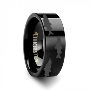 Swimming Salmon Laser Etched Black Tungsten Ring