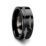 Shark Outline Engraving Pattern Black Tungsten Band