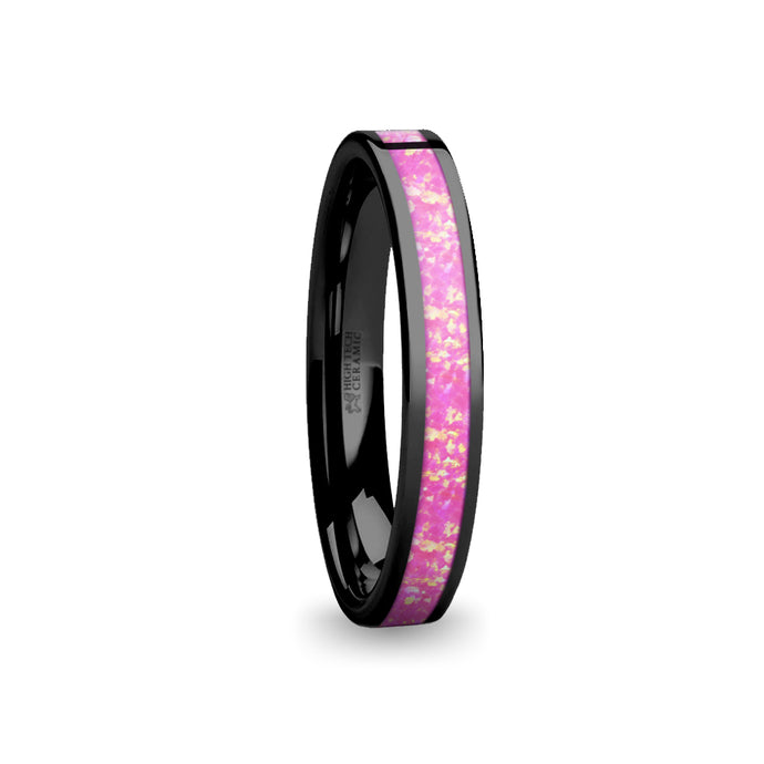 Lush Hot Pink Opal Inlay Black Ceramic Wedding Band for Women