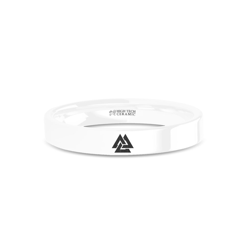 Viking Valknut Triquetra Triangles Engraved White Ceramic Ring