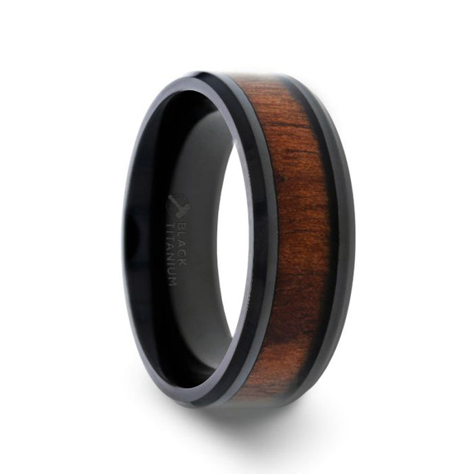 Black Walnut Wood Inlay Black Titanium Wedding Band