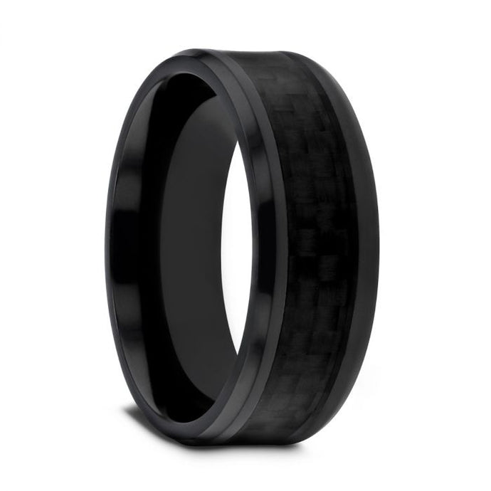 Black on Black Carbon Fiber Inlay Titanium Ring, Beveled