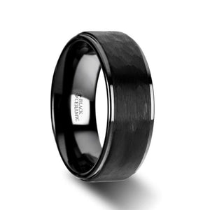 Hammered Black Tungsten Ring with Raised Center