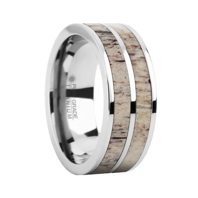 Naturally Harvested Deer Antler Inlay Titanium Wedding Ring