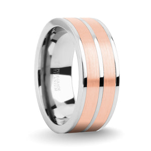 Brushed Rose Gold Tungsten Carbide Inlay Silver Titanium Wedding Ring