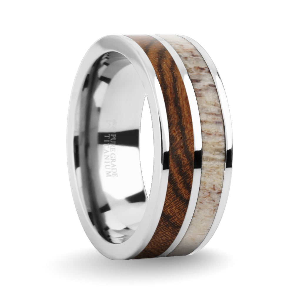Exotic Bocote Wood Antler Inlay Silver Titanium Wedding Ring