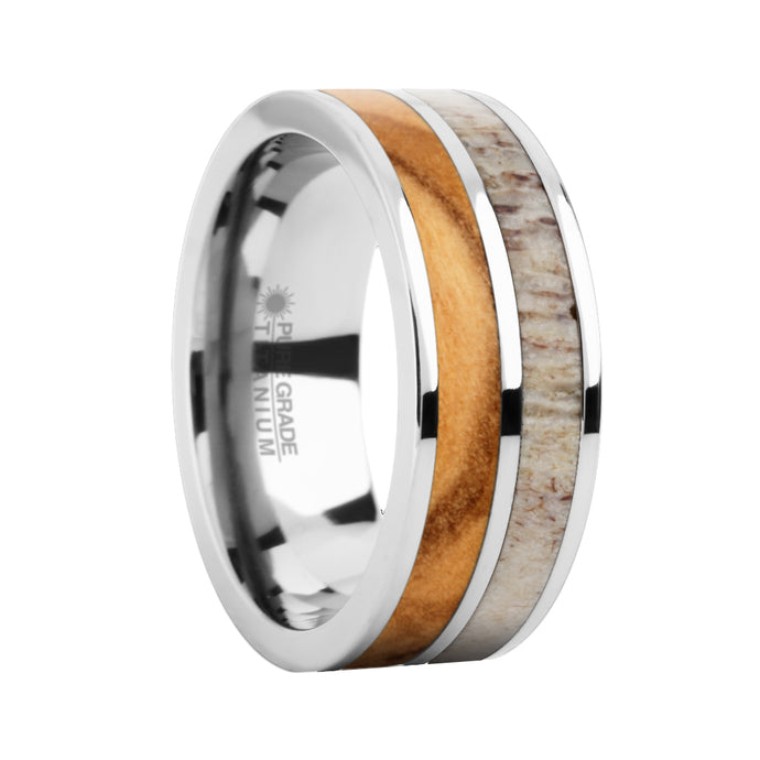 Olive Wood, Real Natural Color Antler Inlay Titanium Wedding Ring