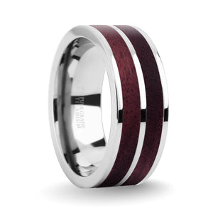 Deep Purpleheart Wood Inlay Silver Titanium Wedding Ring