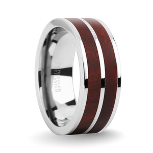 Dark Red Sandalwood Wood Inlay Silver Titanium Wedding Ring