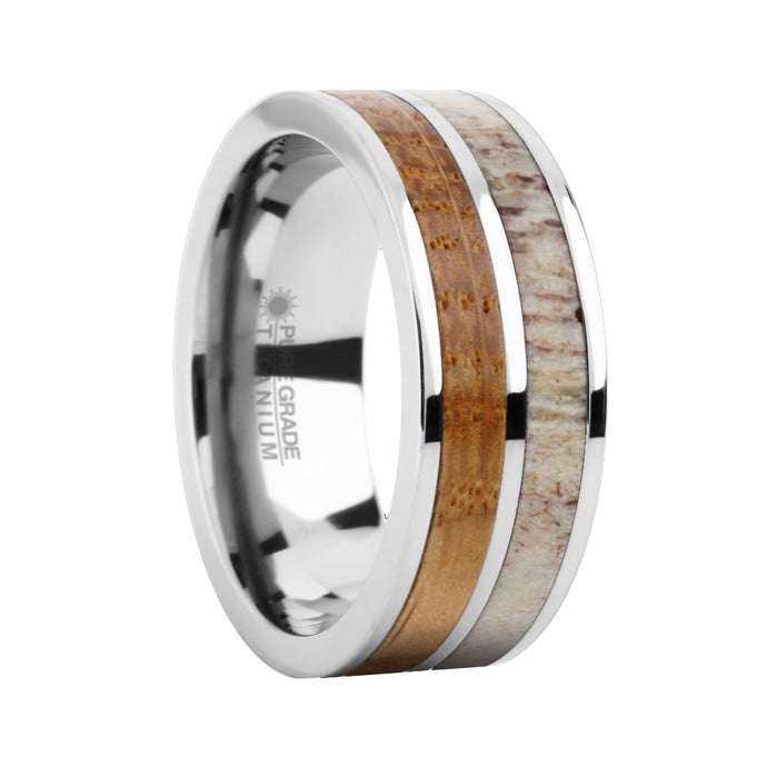 Whiskey Barrel Wood and Real Antler Inlay Titanium Wedding Ring