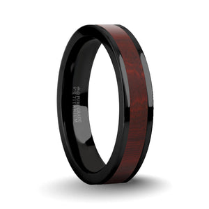 Dark Red Sandalwood Wood Inlay Black Titanium Wedding Ring