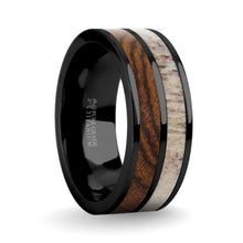 Load image into Gallery viewer, Exotic Bocote Wood, Deer Antler Inlay Black Titanium Wedding Ring